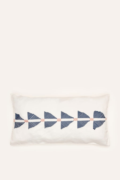 Pukhtadozi Triangles Cushion - Rectangle - Blue on Grey