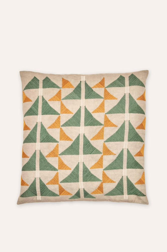 Pukhtadozi Triangles Cushion - Square - Green on Grey
