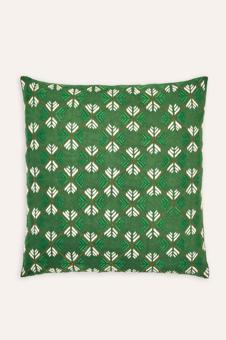 Kandahari Flower Cushion - Green and White on Green