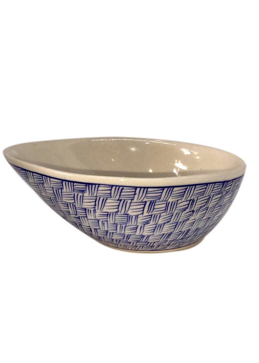 Medium Bowl with Slant - Pin Stripes
