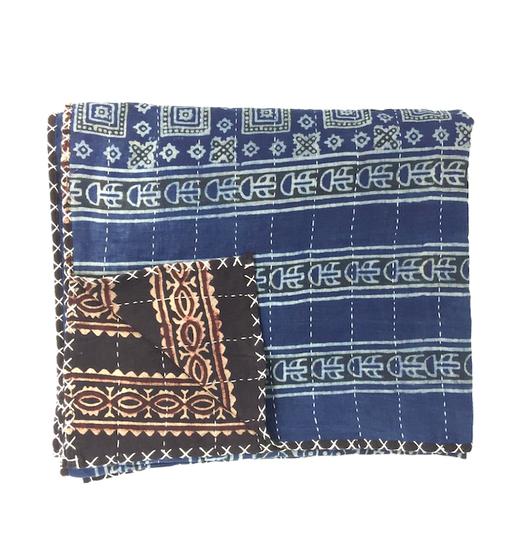 Hand-done Kantha Stitch Scarf - Reversible Blue & Black