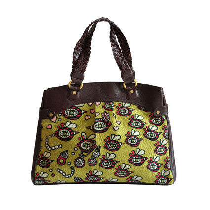 Bees Swarming Plait Handle Mini Tote C2
