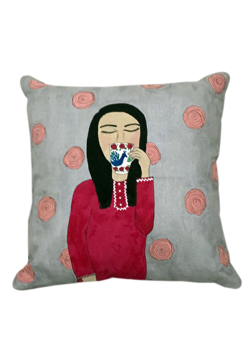 Girl and cup of chai Cushion