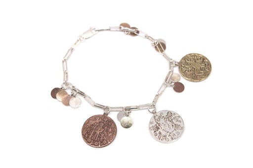 Silver Chain Coin Bracelet