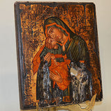 Orthodox Icon Handpainted Virgin Mary Greek Byzantine Antique Style