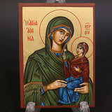 Greek Russian Orthodox Serigraph Icon Handmade Byzantine Saint Anna 12x9cm