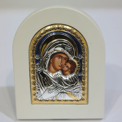 Silver Icon 925 Orthodox Greek Handmade Byzantine Virgin Mary 7,5x9,5cm