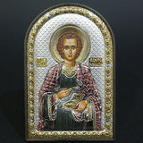 Orthodox Silver 925 Icon Greek Handmade Byzantine Saint Panteleimon 8x12cm