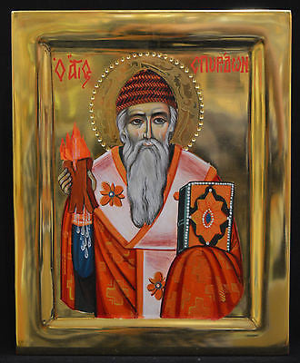 Orthodox Icon Handpainted Greek Byzantine Tempera 24k GOLD Saint Spiridon ATHOS