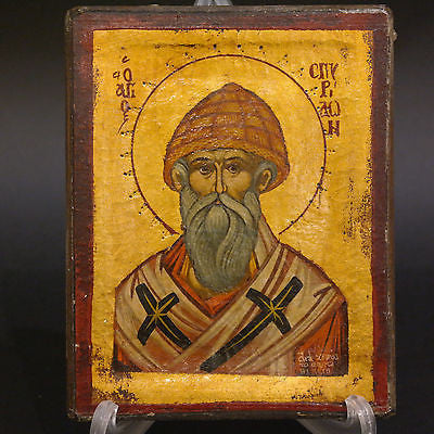 Greek Orthodox Byzantine Handpainted Icon Saint Spyridon 17x13,5cm