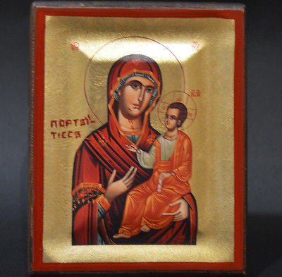 Handmade Orthodox Icon Byzantine Greek Serigraph Virgin Mary Portaitissa