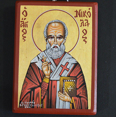Greek Orthodox Byzantine Handpainted Icon Tempera Saint Nikolas Св Николай
