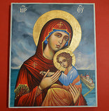 Orthodox Icon Handpainted Greek Byzantine Tempera Virgin Mary with Jesus