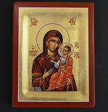Greek Orthodox Byzantine Handpainted Icon Tempera Virgin Mary Portaitissa
