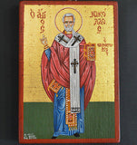 Orthodox Icon Handpainted Greek Byzantine Tempera Saint Nikolas Св Николай