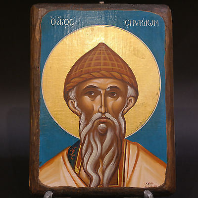 Greek Orthodox Byzantine Handpainted Icon Saint Spyridon 27x21cm