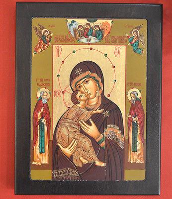Handmade Serigraph Russian Greek Orthodox Byzantine Icon of Panagia Vladimir