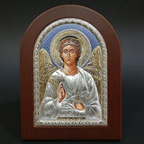 Silver Icon 925 Orthodox Greek Handmade Byzantine White Angel 21x15cm