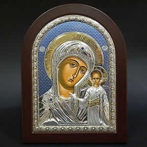Silver Icon 925 Orthodox Greek Handmade Byzantine Virgin Mary Kazan 26x20cm
