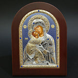 Silver Icon 925 Orthodox Greek Handmade Byzantine Virgin Mary Vladimir 21x15cm