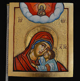 Orthodox Icon Handpainted Greek Byzantine Tempera Godfather and Virgin Mary