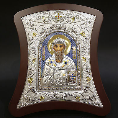 Orthodox Icon Greek Handmade Byzantine Silver 925 Saint Spyridon 29x24cm