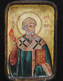 Orthodox Icon Handmade Serigraph Greek Byzantine Saint Spiridon Wonder-Maker