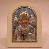 Silver Icon 925 Orthodox Greek Handmade Byzantine Saint Nicholas 21x15cm