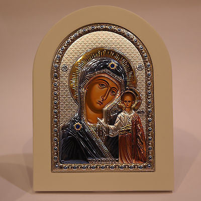 Silver Icon 925 Orthodox Greek Handmade Byzantine Virgin Mary Kazan 21x15cm