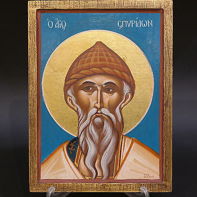 Greek Orthodox Byzantine Handpainted Icon Saint Spyridon 28x21cm