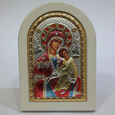 Silver Icon 925 Orthodox Greek Handmade Byzantine Virgin Mary Amolyntos 14x10cm