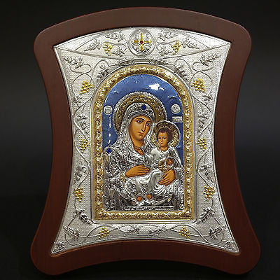 Orthodox Icon Greek Handmade Byzantine Silver Virgin Mary of Jerusalem 22x18cm