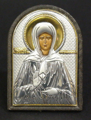 Orthodox Silver Icon Greek Handmade Byzantine Silver 925 Saint Matrona 4x6cm