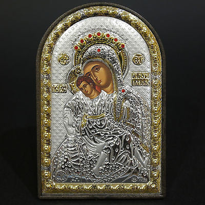 Orthodox Silver 925 Icon Greek Handmade Byzantine Virgin Mary Kykkou 8x12cm