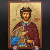 Greek Russian Orthodox Serigraph Icon Handmade Byzantine Saint Alexandr 12x9cm