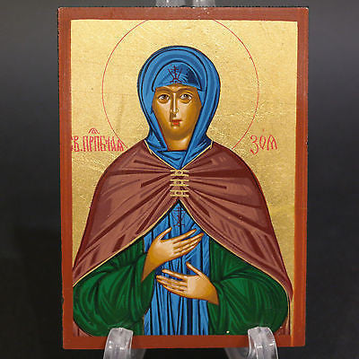Greek Russian Orthodox Serigraph Icon Handmade Byzantine Saint Zoh 12x9cm