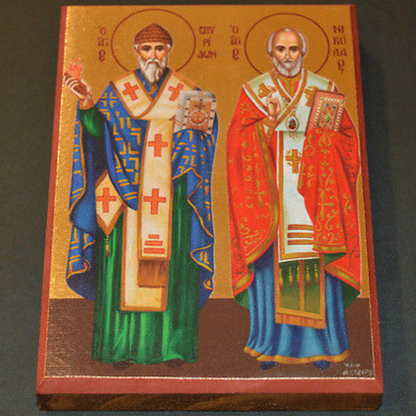 Lithograph Icon of Saint Spyridon with Saint Nickolas 25x18cm