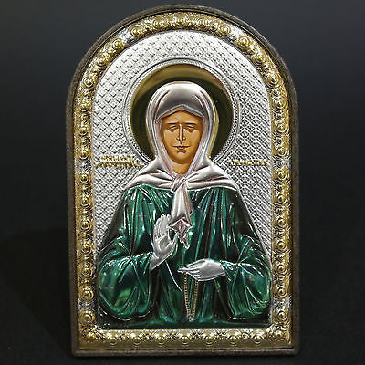 Orthodox Silver 925 Icon Greek Handmade Byzantine Saint Matrona 8x12cm