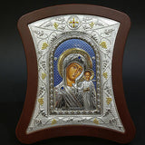 Orthodox Icon Greek Handmade Byzantine Silver 925 Virgin Mary Kazan 22x18cm