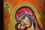 Orthodox Handpainted Icon Greek Byzantine Tempera Virgin Mary Sweet Kisses