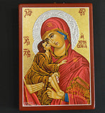 Greek Orthodox Byzantine Handpainted Icon Tempera Virgin Mary Donskaya