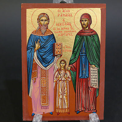 Greek Russian Orthodox Serigraph Icon Handmade Byzantine Saint Rafail 12x9cm