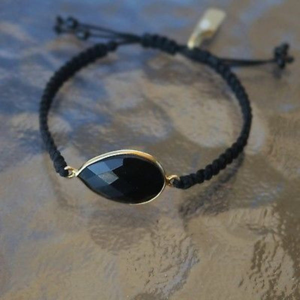 Bracelet with Goldplated Sterling Silver 925 Frame & Black Agate Stone