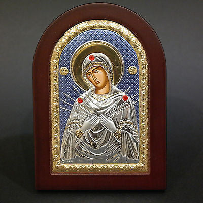 Silver Icon 925 Orthodox Greek Handmade Byzantine Virgin Mary 7 Swords 14x10cm