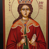Greek Russian Orthodox Serigraph Icon Handmade Byzantine Saint Barbara 12x9cm