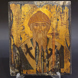 Greek Orthodox Byzantine Handpainted Icon Saint Spyridon 22,5x18,5cm