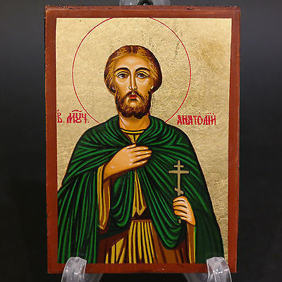 Greek Russian Orthodox Serigraph Icon Handmade Byzantine Saint Anatoliy 12x9cm