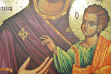 Handpainted Icon of Panagia Portaitissa 24k Gold 70x45cm