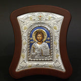 Orthodox Icon Greek Handmade Byzantine Silver 925 Jesus Christ 14x12cm