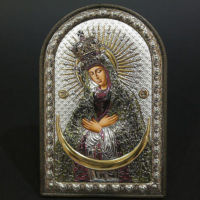 Orthodox Silver 925 Icon Greek Handmade Byzantine Virgin Mary Ostrobramsk 8x12cm